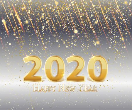 New Year background or banner with Metallic Gold Number 2020 Banner or background Çizim