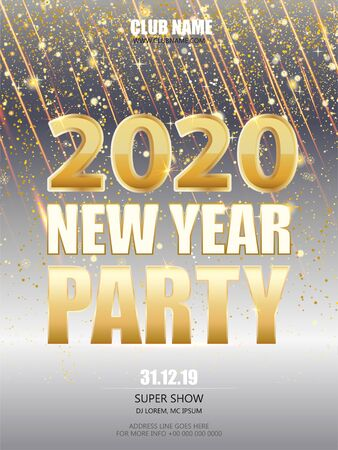 New Year party 2020 Eve celebration Flyer, Banner or Pamphle. Shiny Flyer