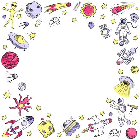 Vector doodle space objects. Astronaut, alien, galaxy, space ship, spaceman. Coloring page. Çizim