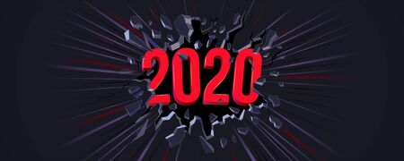 2020 New Year greeting card. 3D text. Black crack in the black wall and dynamic line. Web banner, Flyer, background, poster for New Years 2020 Eve Party celebration. Dinamic background. Çizim