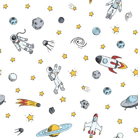 Seamless pattern with space objects. Space ships, rocket, planets, flying saucers, astronauts, stars, comets, ufo etc Çizim