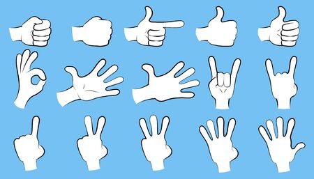 Hand collection - vector line illustration. Big set 일러스트