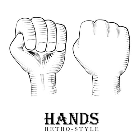 Engraving fist. Two fists raised. Retro style Çizim