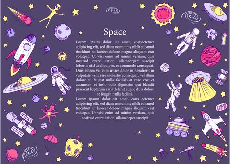 Concept page about cosmos. Hand drawn space objects: alien, astronaut, spaceship, satellites, universe, rockets, planets, spaceman, stars, comets, ufo. Cartoon vector Childrens illustration