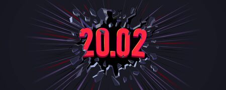 20,02 banner. Wall explosion. Black crack in the black wall.