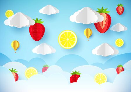 Template flyer, banner or poster. Paper style. Fruits in the sky. Paper art