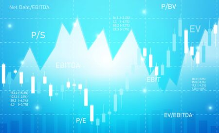 Business blue background with charts and multiplicators