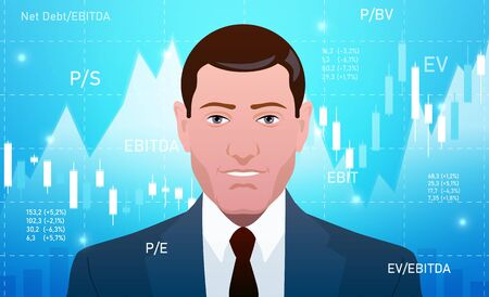 Businessman, investor, analyst or broker Trading Stocks 向量圖像