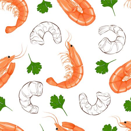 Shrimp on a white background. Seamless vector pattern. Realistic illustration.