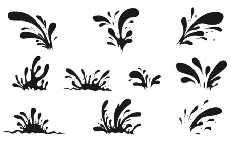 Splash of Black drops. Oil Drops Set. Vector illustration Ilustração