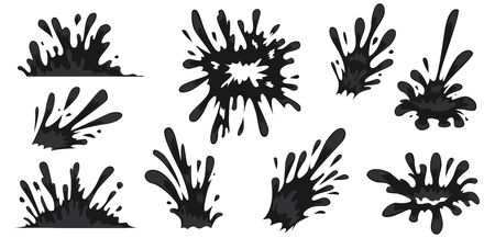 Splash of Black drops. Oil Drops Set. Vector illustration. 向量圖像