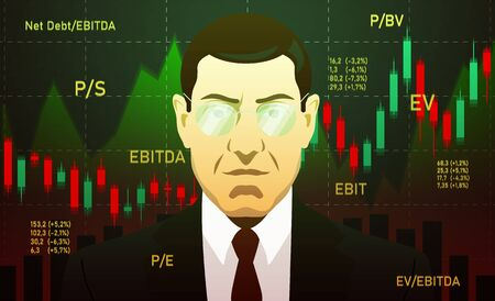 Analytic, Businessman, investor, analyst or broker Trading Stocks on dark background with charts and multipliers.