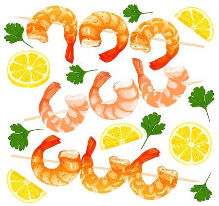 Prawns on skewers, parsley, lemon drawing on a white background. Shrimp icons set. Realistic vector illustration