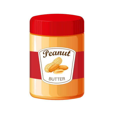 Peanut butter. Detailed Vector Icon. Food for cooking breakfast.