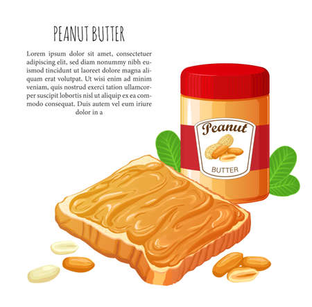 Bread with Peanut butter. Jar of peanut butter isolated on white. Vector Illustration