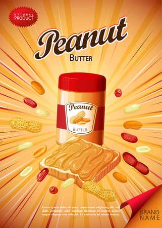 Peanut butter spread and sandwich illustration. 版權商用圖片