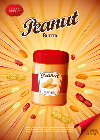 Peanut butter spread and sandwich illustration. Poster for advertising 版權商用圖片