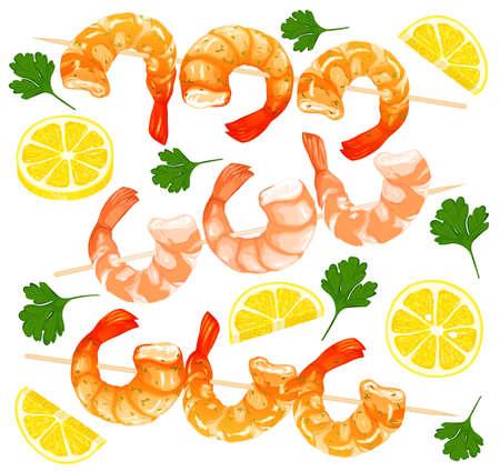 Shrimps on skewers, shrimps without shell, shrimp meat. Boiled Shrimp drawing on a white background.