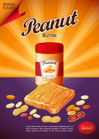 Peanut butter spread and sandwich illustration. Poster for advertising 向量圖像