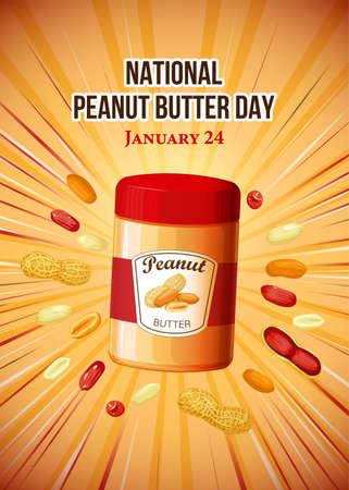 National Peanut Day vector. Jar of peanut butter vector illustration. Peanut Day Poster, American delicacy. January 24. 版權商用圖片