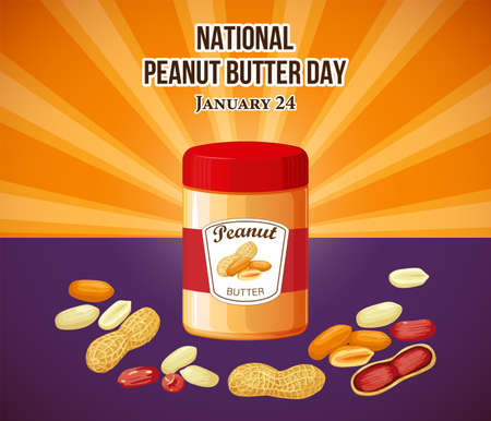 National Peanut Day vector. Jar of peanut butter vector illustration. Peanut Day Poster, American delicacy. January 24. 向量圖像