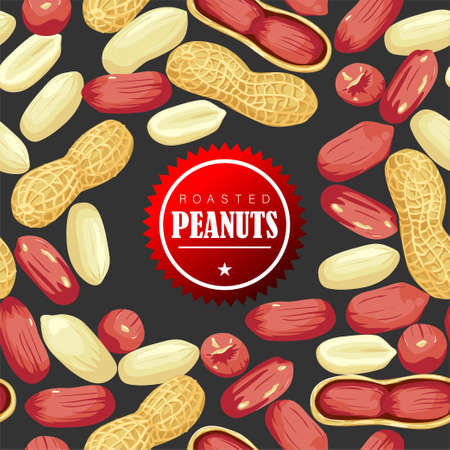 Peanut nut seed whole and shelled, Peanuts in pod seamless pattern.