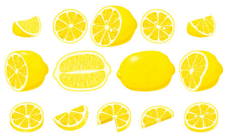 Big Set of whole, cut in half, sliced on pieces fresh lemons and lemon peel. Hand drawn vector illustration isolated on white background 向量圖像