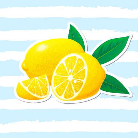 Lemon, slices of lemon with leaves. Vector. 向量圖像