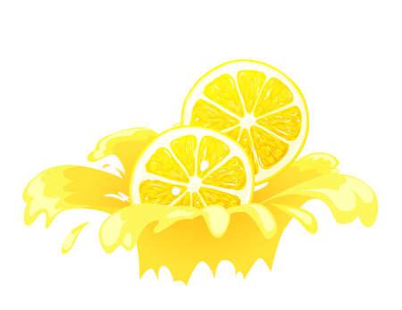 Lemon splash vector illustration. Concept for label.