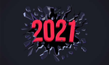 2021 New Year greeting card. Flyer, poster, invitation or banner for New Years 2020 Eve
