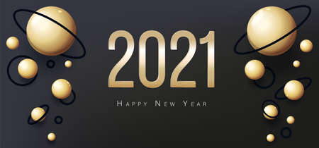 Greeting Card 2021 Happy New Year. Gold balls on black background 向量圖像