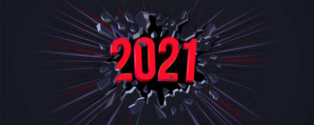 2021 New Year greeting card. Flyer, poster, invitation or banner for New Years 2021