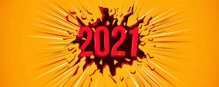 New 2021 Year greeting card. Flyer, poster, invitation or banner for New Years 2021