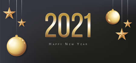 Card with greeting 2021 Happy New Year. Illustration with gold Christmas balls, light, stars and place for text. Flyer, poster, invitation or banner.