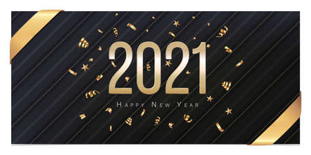 Greeting Card 2021 Happy New Year. Gold confetti on black background