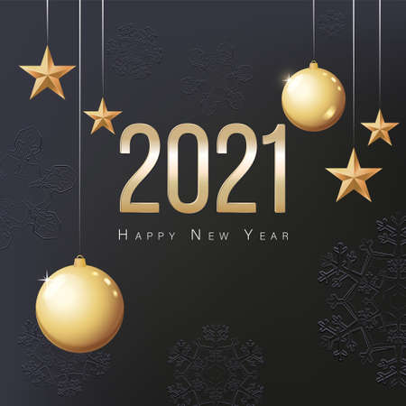 2021 Happy New Year. Gold Christmas balls, stars and place for text. Poster, invitation or banner 向量圖像