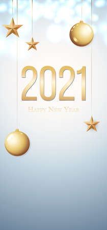 Card with greeting 2021 Happy New Year. Gold Christmas balls, light, stars and place for text.