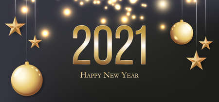 2020 Happy New Year. Gold Christmas balls, light, stars and place for text. Invitation or banner.