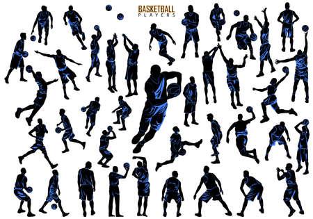 Silhouettes of Basketball Players Vector. Big set
