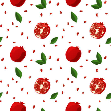 Seamless pattern with pomegranates, leaves, and grains.