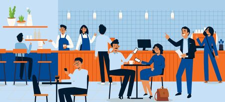 People eating in a food court shopping mall, character flat design illustration. Tiny sitting at tables large hall vendors staying counters. Men women having lunch or dinner. cartoon style. Vektorgrafik