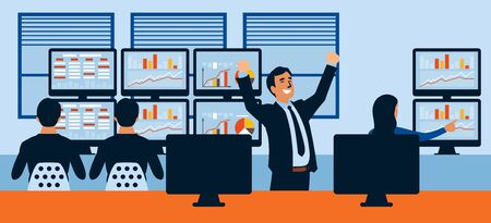 Winner gesturing raised hands with clenched pumping fists. Successful business people win. Businessman celebrating achievement flat vector character illustration.