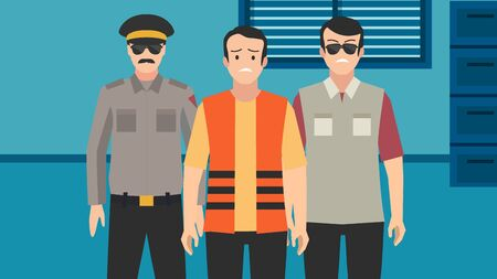 Two policemen in uniform with caught criminal at office colorful vector illustration. Arrested corrupt escorted by a pair of police cartoon characters.