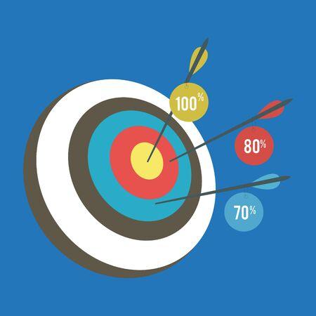 Modèle graphique d'informations sur le concept d'entreprise de définition d'objectifs intelligents pour la mise en page du flux de travail. Cible avec flèche. Illustration vectorielle isolée sur fond blanc.