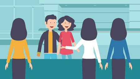 Check into a hotel. Young couple with suitcases is standing at the reception desk. Guests cartoon vector illustration in flat style. Pair of tourists talking to receptionist.