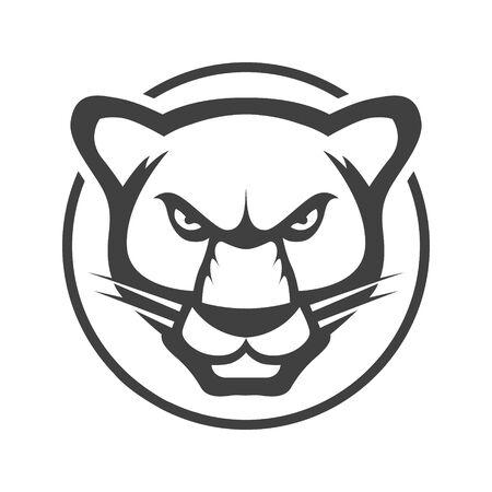 Testa di leopardo. Mascotte dell'illustrazione del logo o dell'icona di vettore del giaguaro. Tiger gatto selvatico minimalista linea piatta contorno corsa pittogramma simbolo emblema.