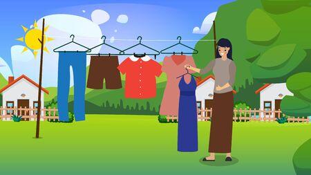 Glückliche junge Frau, die nasse Wäsche zum Trocknen in der Sonne-Vektor-Illustration hängt. Mädchen ist süße und freundliche Gastgeberin. Nach dem Waschen.