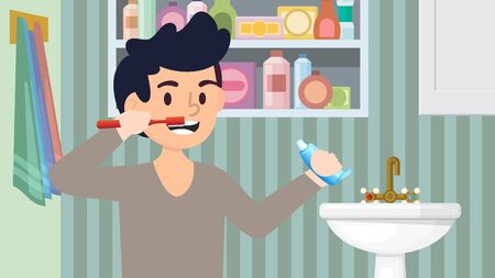 Happy little kid character brushing his teeth with toothpaste and toothbrush in bathroom vector illustration.