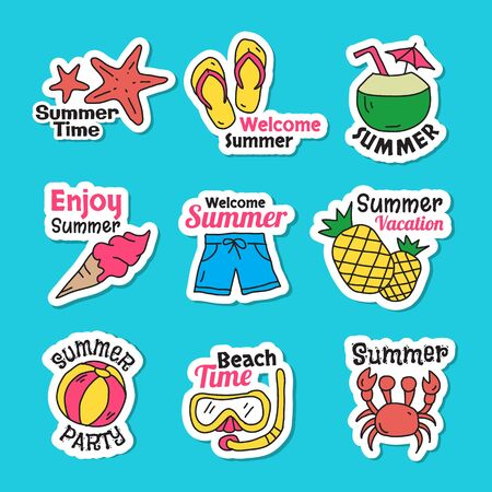 Set of cute summer stickers. Bright summertime icon. Collection elements for beach party vector illustration. Colorful funny doodle symbols.