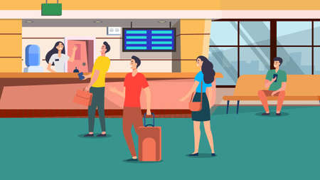 Flight delay or cancel concept. Vector flat cartoon illustration. Tired and upset passengers with luggage waiting for departure at airport terminal